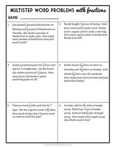 Multistep Word Problems with Fractions, Grade Fraction Word Problem Packet Word Problems 3rd Grade, Fraction Word Problems, Math Lesson Plans, Math Lessons, 4th Grade Fractions, Mental Maths Worksheets, Consumer Math, Common Core Math Standards, Math Questions
