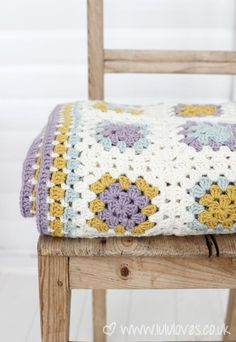 Caron Simply Soft: autumn maize, blue, lavendar, and off-white : Lulus blanket via #LuluLoves