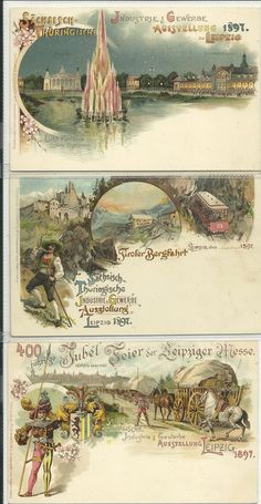 1897 Leipzig; 12 postcards total for this event(3 mint never used, 9 post-ally used)