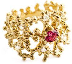 Coral Gold Diamond Ring with Spinel - Arosha Luigi Taglia