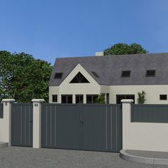 Fence Gate Design, Modern Fence Design, Steel Gate Design, House Doodle, Wood Entry Doors, Iron Gates, Garden Gates, Outdoor Gardens, House Design