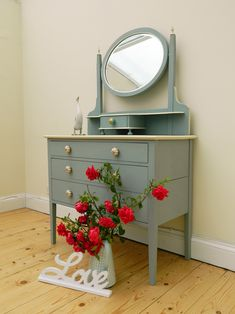 Dressing table has been refurbished. Annie Sloan Duck Egg Blue and Cream
