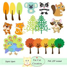 Woodland animal cliparts  digital illustration  by FatCatCreation, ฿150.00