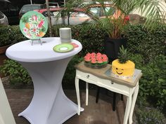watermelon cupcakes and pineapple cake sweet table