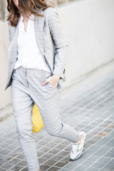 What to Wear to Work: Gray Plaid Suit, Sneakers