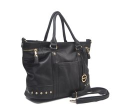 """Sori Collection """"030"""" Designer Inspired Big Tote Travel Bag (Black0). Man Made Quality Real leatherette Like textured exterior. Zippered top closure with long shoulder handle. Multiple interior compartment keeps your belongings organized. Stacked with Blink Gems for that extra look with style. Free Long matching strap."""