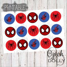 Super Hero Spider Man Bottle Cap Images 4x6 JPEG 1 inch Printable Bottle Cap Images {300dpi} INSTANT DOWNLOAD by CzechDollyBoutique on Etsy