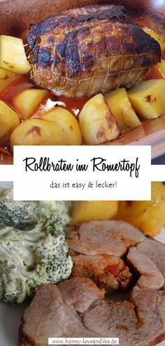 Heute zeige ich dir wie du einen Rollbraten im Römertopf mit Kartoffeln zusammen machst. Das ist so wahnsinnig lecker. Dieses Gericht kannst du als Festtagsessen oder sogar zu Weihnachten planen!  #Weihnachten #Festtagsessen #RollbratenimRömertopf #Rollbraten #Römertopf Easy Peasy, Good Food, Pork, Favorite Recipes, Meat, Potato Fry, Delicious Dishes, Healthy Food, Kale Stir Fry