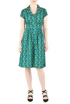 I <3 this Shawl collar floral print crepe dress from eShakti