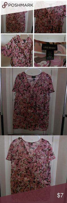 lowest price Lane Bryant Sheer  Wrap blouse 18/20 v neck flutter sleeves sheer has inside and outside tie geometric print  shades of pink,cream tan,brown & peach gently used see no flaws hand wash cold water line dry  100% polyester measurements taken laying flat  underarm to underarm  25 inches (50) total inches shoulders 17 inches length 29 inches no trades no modeling thank you for looking Lane Bryant Tops Blouses