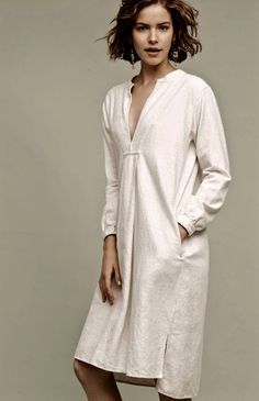 NWT Anthropologie CP Shades ivory tan Easy Fit Flannel Midi Tunic Dress M #CPShades #tunicdress #versatile