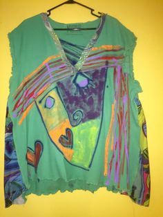 Hand painted upcycled cotton Tee fits XL 1X