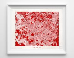 Bogota Map Colombia Poster Colombian Print by InkistPrints on Etsy - $19.95 - Shipping Worldwide! [Click Photo for Details]