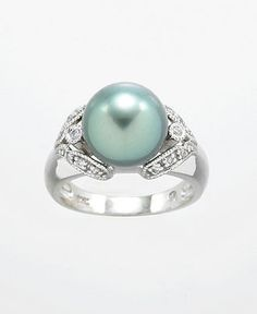 EFFY Collection 14k White Gold Tahitian Cultured Pearl and Diamond (1/10 ct. t.w.) Ring - Pearls - Jewelry & Watches - Macy's
