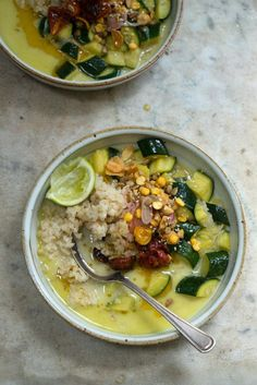 Thai Zucchini Soup Recipe - A chunky zucchini soup, beautifully spiced with a thin, bright, assertive coconut-lime curry broth & a lesson in being adaptable. - from 101Cookbooks.com