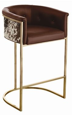 Calvin Top Grain Brown Leather Hair Hide Leather Art Deco Bar Stool - transitional - Bar Stools And Counter Stools - Kathy Kuo Home Cheap Bar Stools, Modern Bar Stools, Art Deco Bar, Furniture Decor, Modern Furniture, Furniture Design, Brown Leather Bar Stools, Leather Stool, Bar Chairs