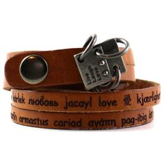 "Love Wrap Bracelet Leather. Engraved with the Word ""Love"" in Different Languages. Double-Stranded with Adjustable Snap. (B006-LVE)"