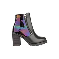 To Be Announced Sarabelle ($165) ❤ liked on Polyvore featuring shoes, boots, ankle booties, heels, black, black leather petrol, high heel boots, faux-leather boots, high heel ankle booties and black leather booties