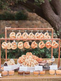 Pretzel bar idea for wedding reception food station