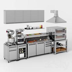 small restaurant Equipment for pizzeria - Restaurant Kitchen Equipment, Restaurant Kitchen Design, Hotel Kitchen, Bakery Kitchen, Pizza Kitchen, Kitchen Layout, Pizza Restaurant, Coffee Shop Design, Cafe Design