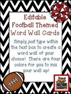 This product was requested to compliment my baseball alphabet cards!There are 6 slides with footballs, 6 slides with a pom pom, and 6 slides with a jersey.  Create a pattern or use all of one! You can duplicate the slides to create more of what you need.You can edit/add the words of your choice to create the perfect word wall for your classroom.