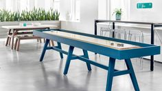 This rich wood meeting table expands from the conference room into the private office, open plan, or game room. Seated and standing heights in a full range of sizes supports individual work to team meetings, bringing warmth and design into any environment. Just add a net and paddles to turn the Riff Table into a regulation-size Tennis Table to create a playful atmosphere.