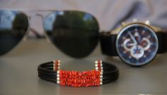 Bracelet HOMME en corail véritable rouge de Corse : Bijoux pour hommes par les-tresors-de-la-corse