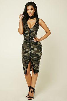 Hooded Camo Bodycon Dress