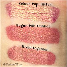 Colour Pop: Flitter Ultra Metallic Lip compared to Sugar Pill: Trinket liquid lipstick. I also show what they look like together.