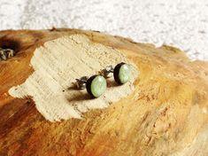 Wooden stud earrings 7 mm surgical steel ear studs wooden