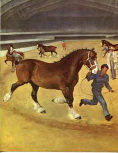 Clydesdale Horses and Trainers Wesley Dennis Vintage Illustration Print 1950s…