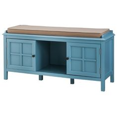 Blue entryway bench - with soft sitting top