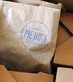 simple + sweet = great branding.  (stamp?)  The Pie Hole in downtown LA.
