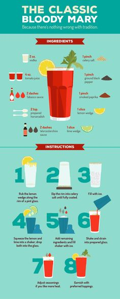 Bloody Mary Madness: Create Your Own Fully Stocked Bloody Mary Bar The Classic Bloody Mary Recipe Bar Drinks, Cocktail Drinks, Cocktail Recipes, Alcoholic Drinks, Beverages, Margarita Recipes, Cocktails 2018, Tequila Drinks, Classic Cocktails