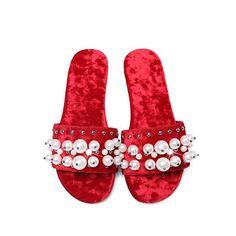 2017 rainbow colors round peep toe women flats velvet big size slippers pearl beading sweet preppy style superstar sandals 00