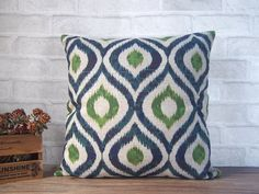 Decorative linen pillow with blue green ikat design-ikat pillow made with natural linen-blue green geometric throw pillow