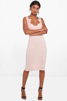 Olivia Cut Out Detail Midi Dress – nude.   dresslover.co.uk