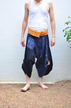Thai fisherman pant men  Thai Style Black and Blue by SiamTrendy