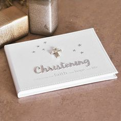 White Christening Guest Book