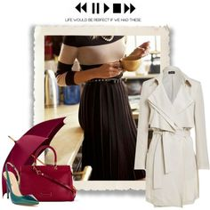 A fashion look from December 2014 featuring trench coat, green high heel pumps e purple tote. Browse and shop related looks.