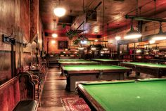 Fitz's bar - Pool Hall - Olympic Club by Christian Carroll, via Pub Design, Hall Design, Billard Bar, Club Sportif, Olympic Club, Billards Room, Pub Bar, Game Room, Pool Tables