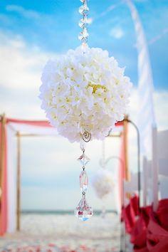 flower globes beach wedding by princess wedding co