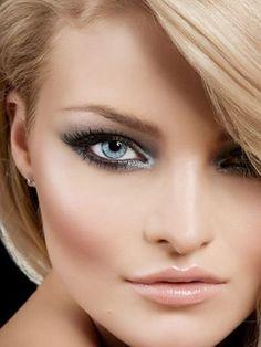 Light inner eye makeup, dramatic outside