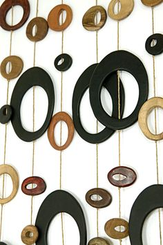 Retro Art Glass: Mid-Century Modern  Wall Art Divider with Large Handcarved Beads