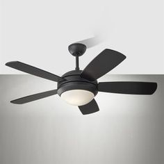 Discus II 44-in Matte Black Downrod Mount Indoor Ceiling Fan with Light Kit