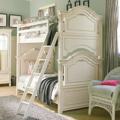 Gorgeous shared girl's room - love the cottage style design