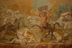 Centaurs attacked by animals, is a sad mosaic from Hadrians Villa