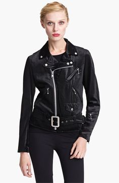 Junya Watanabe Belted Velvet Moto Jacket available at #Nordstrom