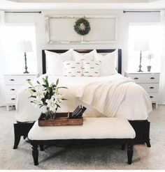 Vintage French Soul ~ Love the white end tables. This look would look great with our black king bed! King Bedroom, Home Bedroom, Master Bedroom, Bedroom Decor, Master Suite, Modern Bedroom, Warm Bedroom, Bedroom Vintage, Trendy Bedroom