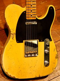 Fender Custom Shop 1952 Telecaster - Heavy Relic - Butterscotch Guitar Pics, Fender Custom Shop, Fender Telecaster, Vintage Guitars, Playing Guitar, Bass, Music Instruments, Electric Guitars, Plank